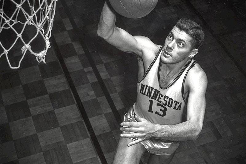 Bud Grant playing basketball at the University of Minnesota