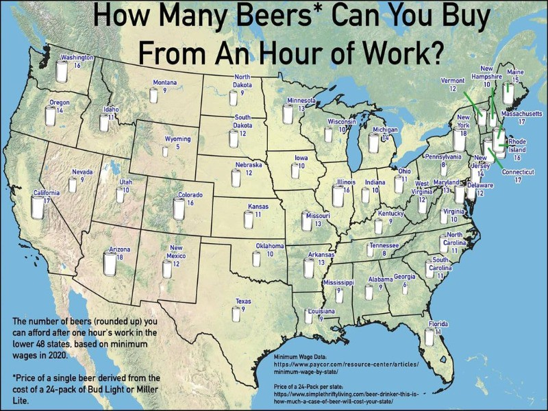 Map of how much beer costs in the U.S.