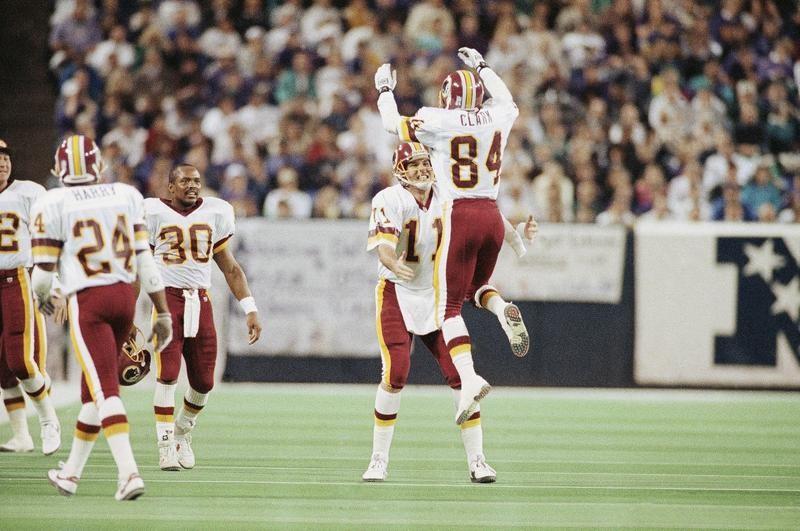 Mark Rypien and Gary Clark in Super Bowl XXVI