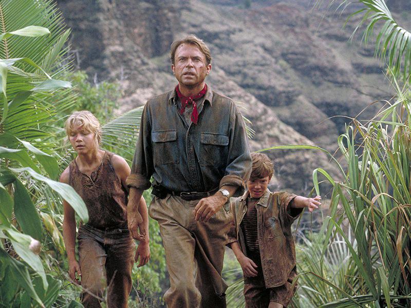 Sam Neill, Ariana Richards, and Joseph Mazzello in Jurassic Park (1993)