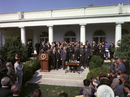 Signing of Poverty Bill 1964