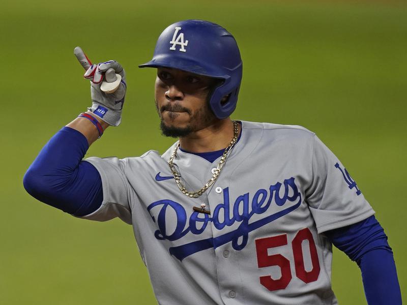 Los Angeles Dodgers' Mookie Betts celebrates his RBI single