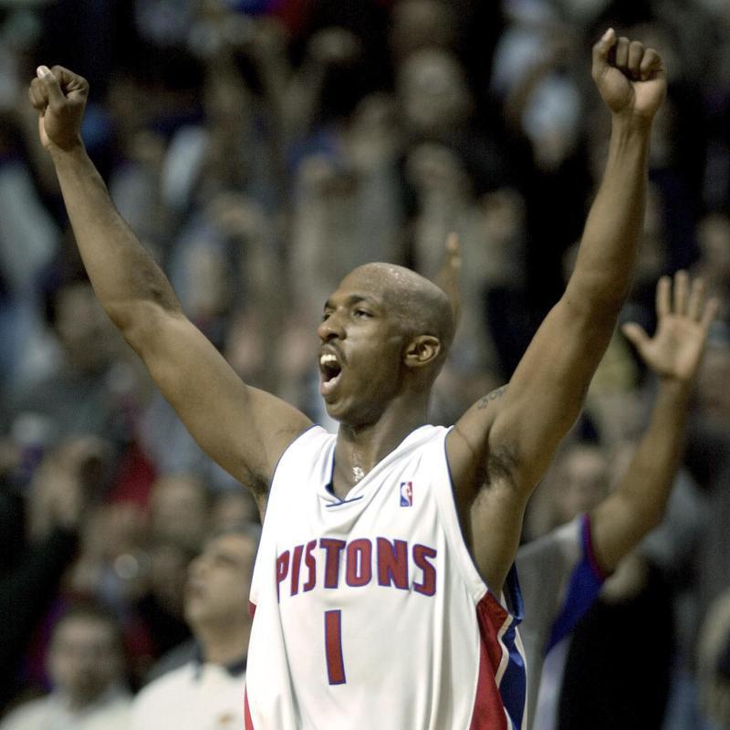 Detroit Pistons' Chauncey Billups celebrates