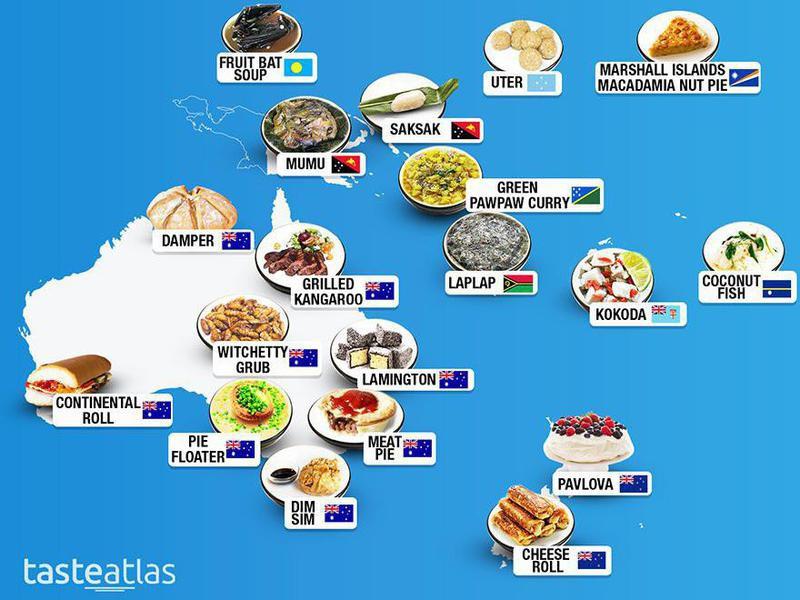 Oceania food map