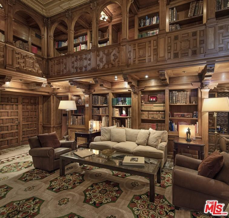 Two-story library at Hearst Estate