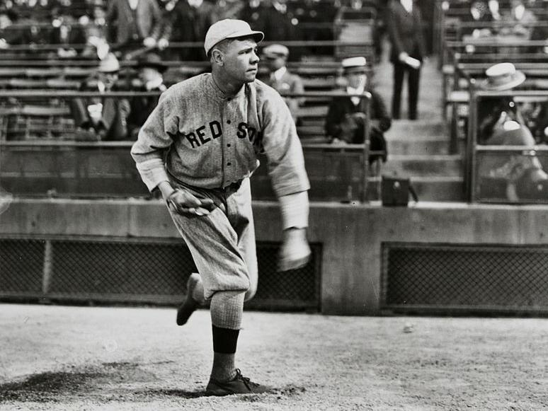 Babe Ruth pitching for Boston