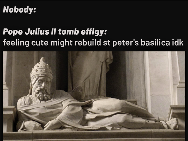 Pope Julius II sculpture meme