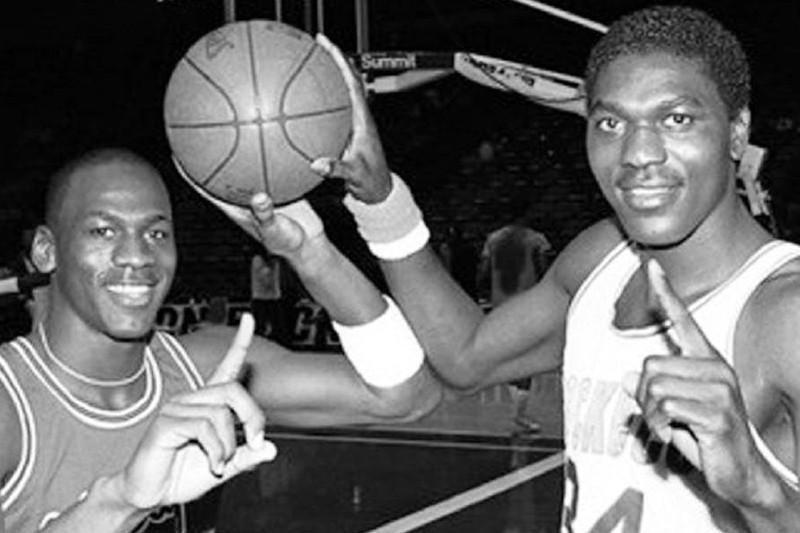 Michael Jordan and Akeem Olajuwon