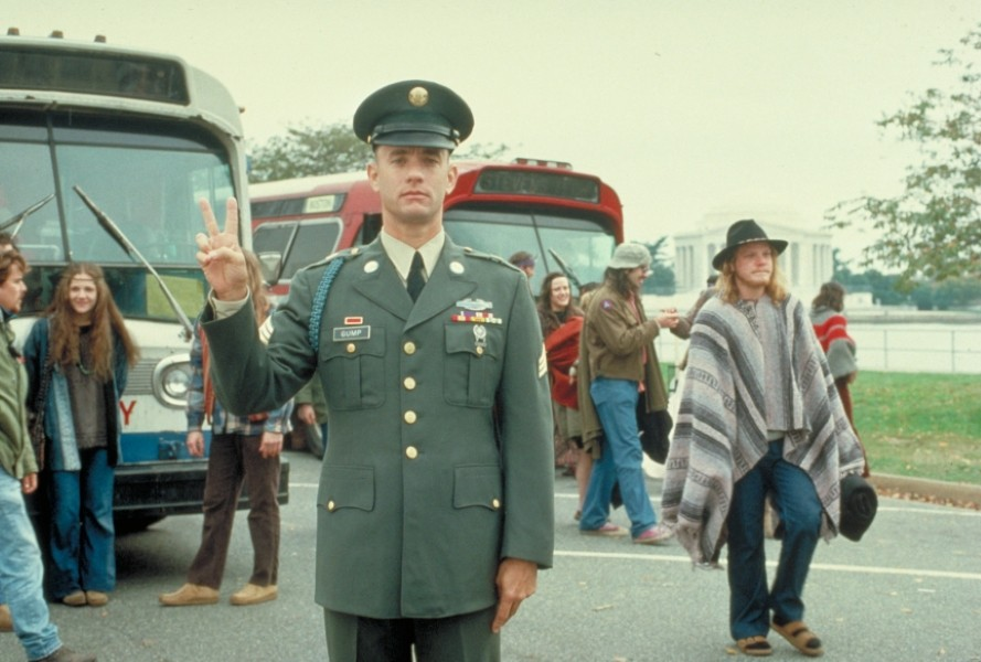 Forrest Gump giving the peace sign
