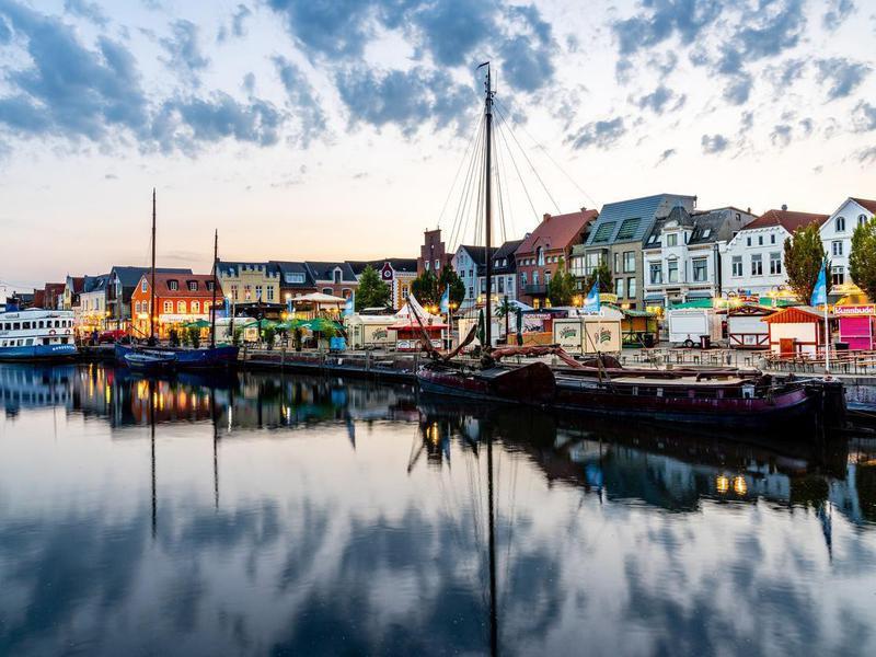 Husum Harbor at Sunset in Nordfriesland, Germany