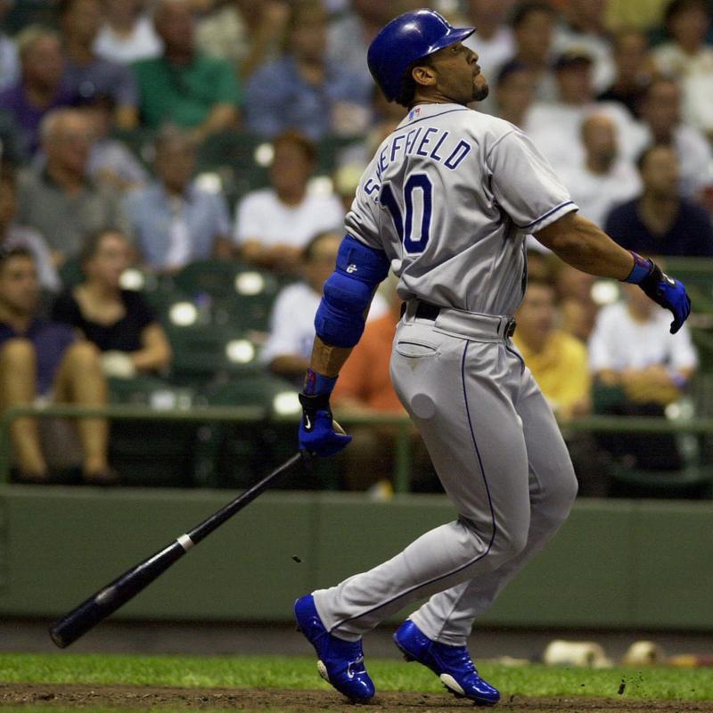 Los Angeles Dodgers' Gary Sheffield hits a home run