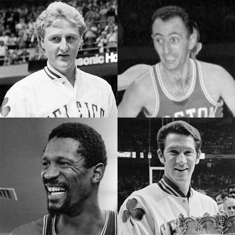 Larry Bird, Bob Cousy, John Havlicek, Bill Russell