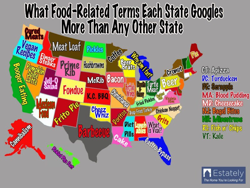 Google food terms by state