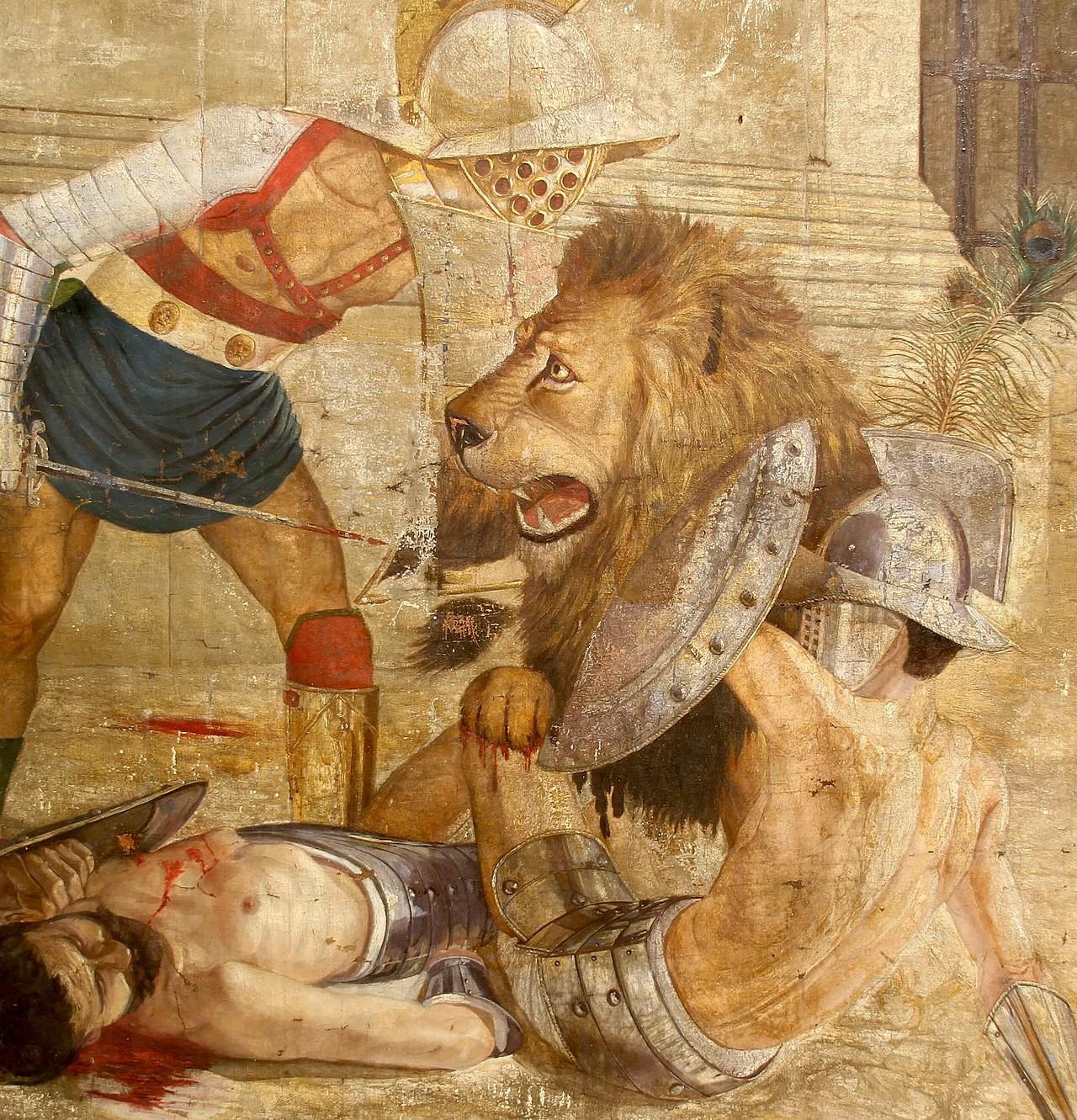 Gladiators fighting Barbary Lion