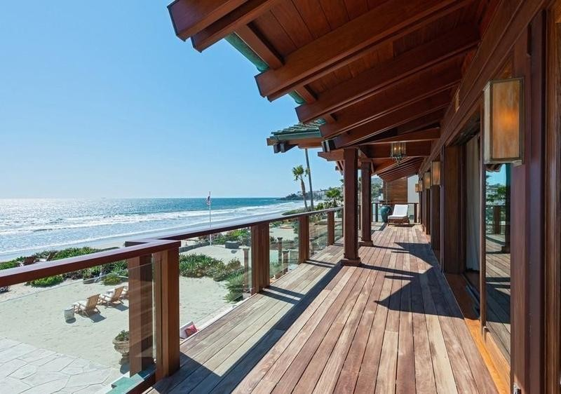 Second-floor deck at Malibu house owned by the Brosnans