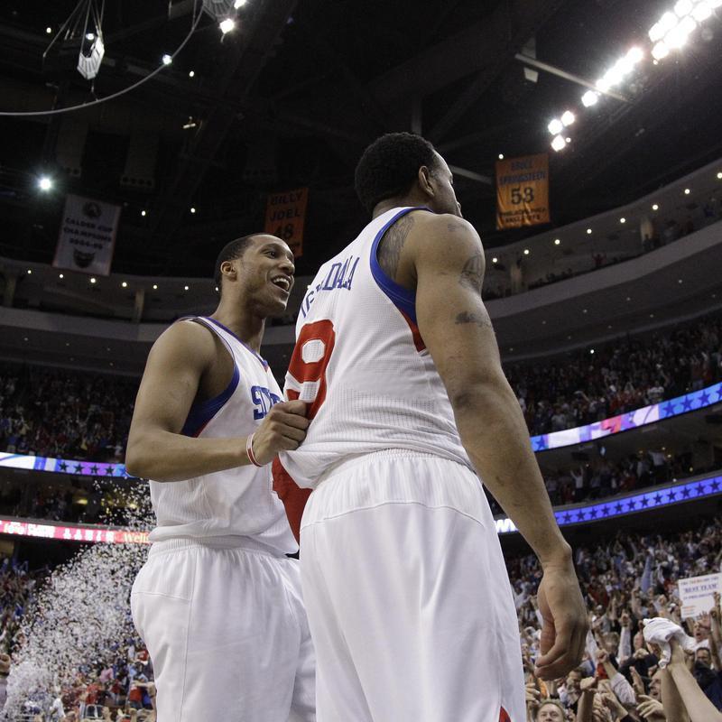 Philadelphia 76ers' Andre Iguodala and Evan Turner celebrate
