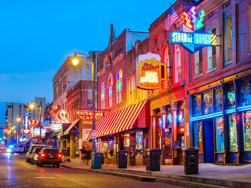 Beale Street Music District in Memphis Tennessee USA
