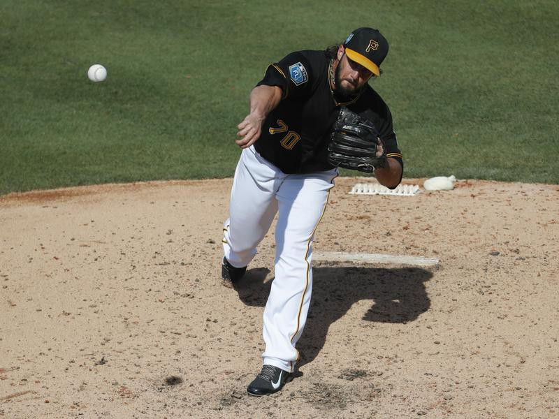 Pittsburgh Pirates pitcher George Kontos throws in sixth inning of spring training