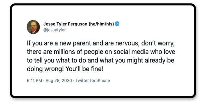 Jesse Tyler Ferguson tweet about parenting advice