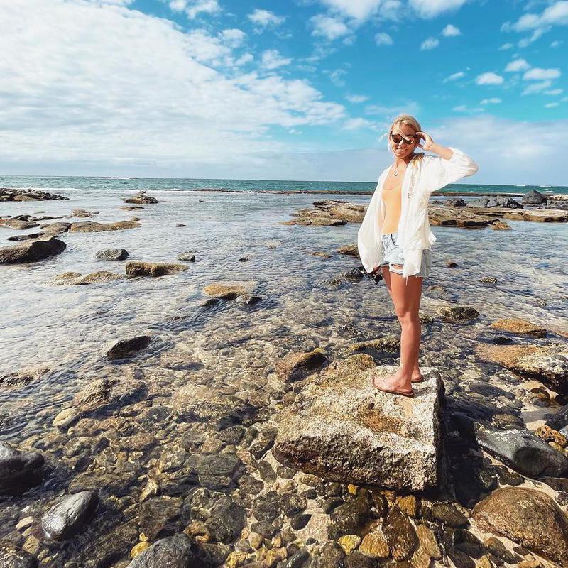 Mikaela Shiffrin at the beach