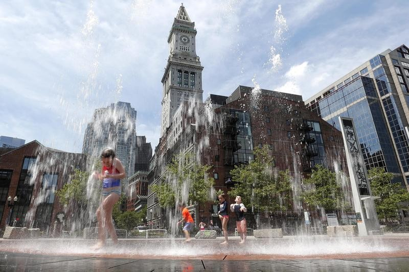 Fountain on the Rose Kennedy Greenway in Boston