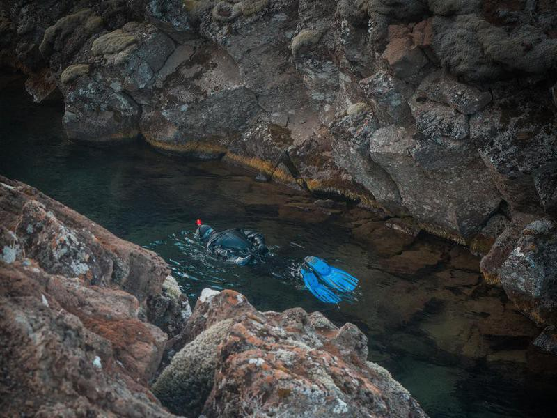Snorkeling Between Continental Plates in Iceland