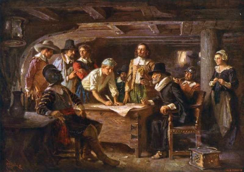 Pilgrims signing Mayflower Compact