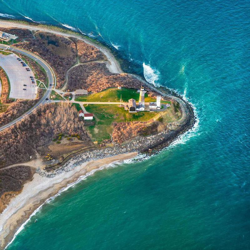 Aerial view over  Montauk Point State Park