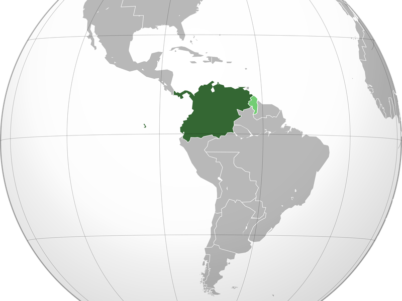 Gran Colombia on a map