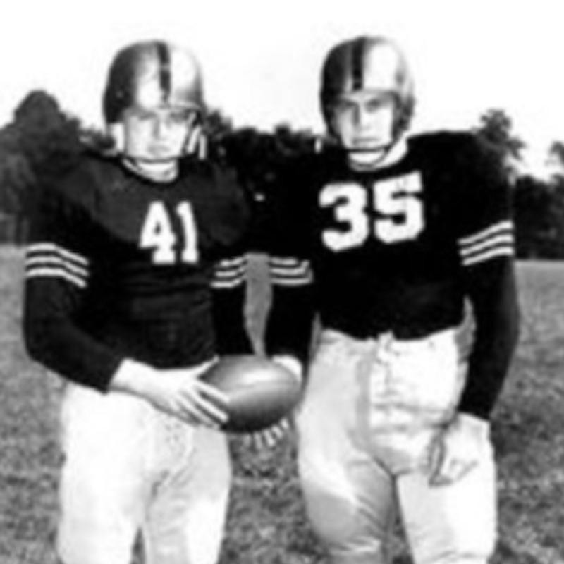 Two players from Army Black Knights pose