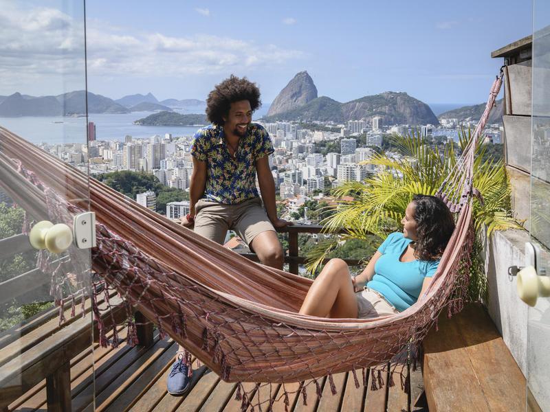 People on hammock in Rio de Janeiro, Brazil
