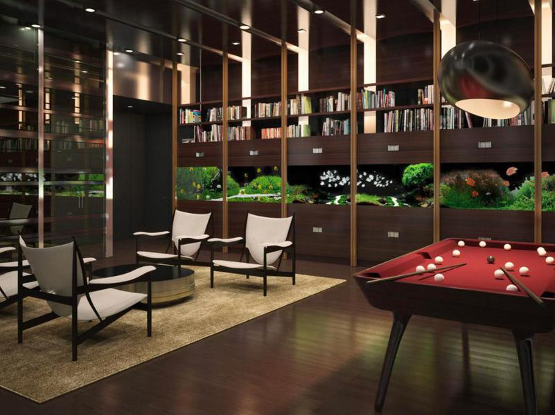 The One57 billiard table and library