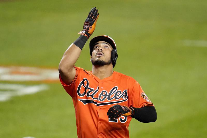 Anthony Santander of the Baltimore Orioles reacts after hitting home run