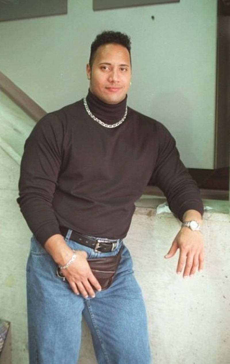 The Rock with fanny pack
