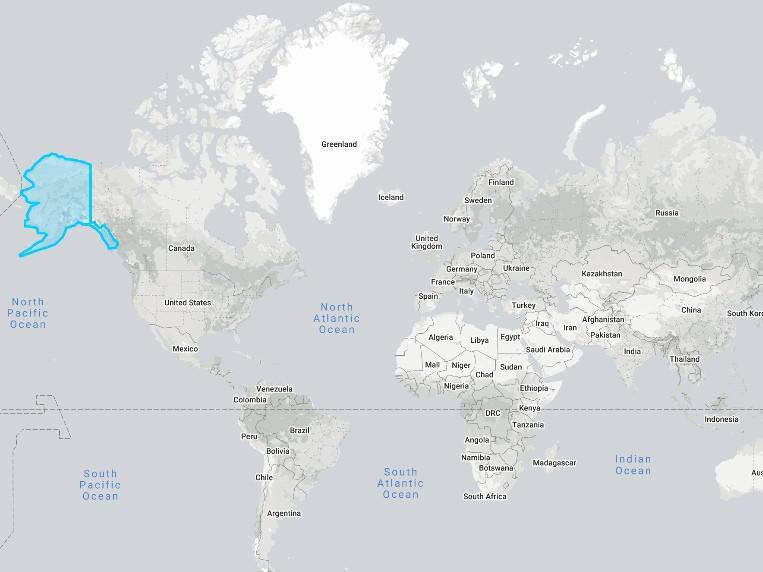 Alaska on the world map