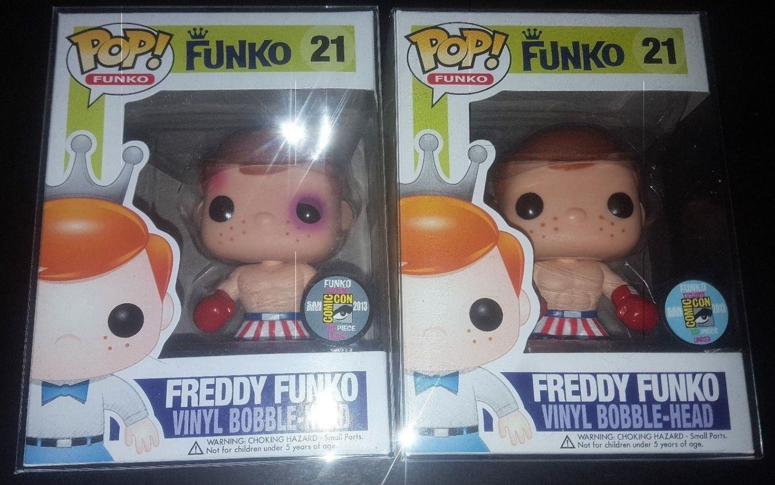 Funko Pop Freddy Funko Apollo Creed with and without bruises