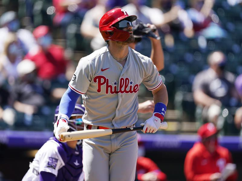 Philadelphia Phillies' Bryce Harper heads up first base line after hitting solo home run
