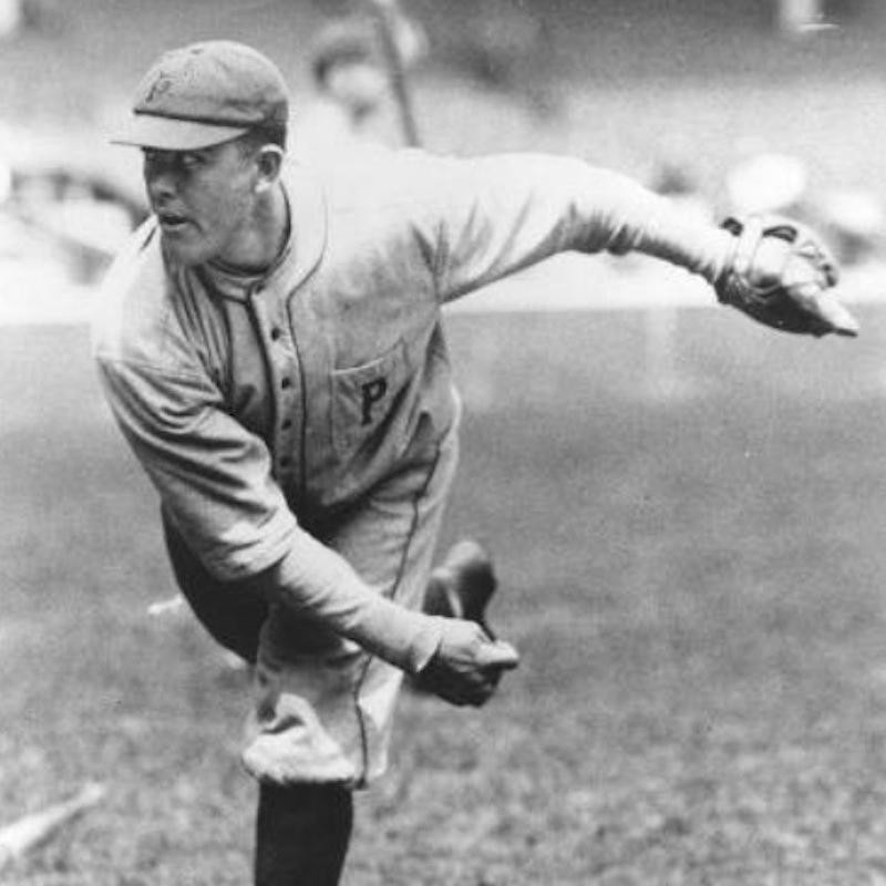 Babe Adams throws ball