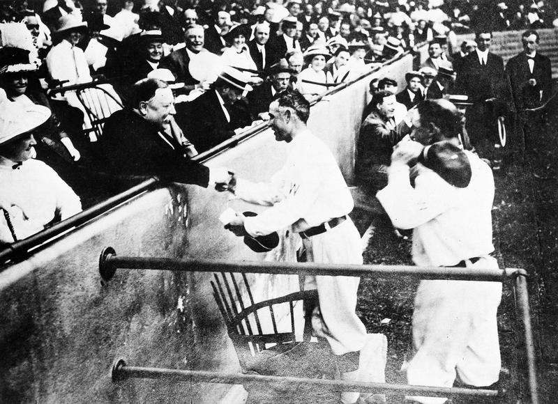 Howard Taft shakes hands with Clark Griffith