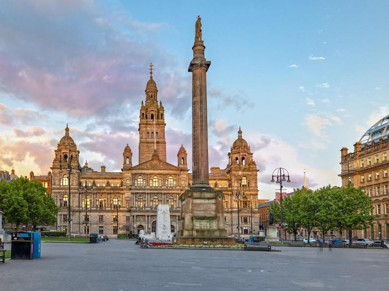 The George Square in the Center of Glasgow