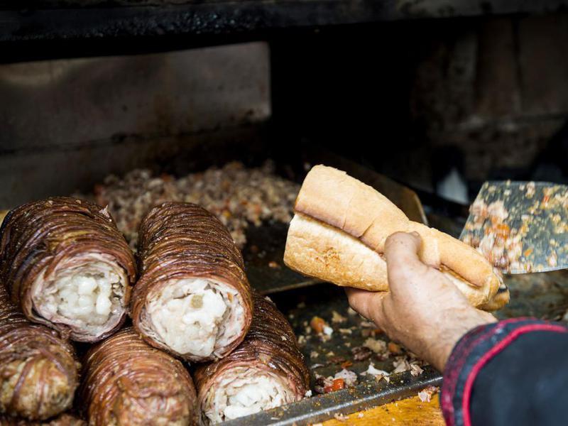 Turkish street food kokorec