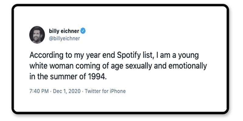 Billy Eichner tweet about his Spotify list