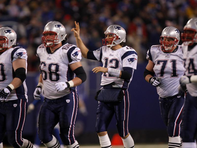 Tom Brady and New England Patriots offensive linemen