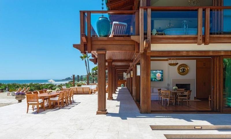 Outside Pierce Brosnan's estate in Malibu
