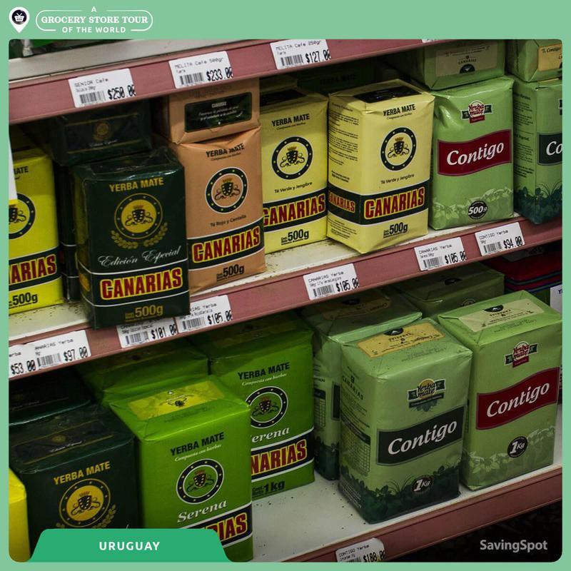 Yerba Mate in grocery store in Uruguary