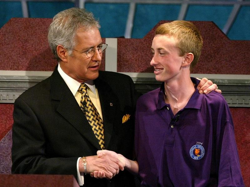 Alex Trebek hosting the 2004 National Geographic Bee