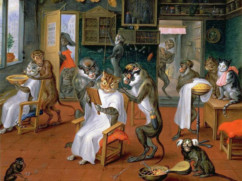 barbershop with monkeys