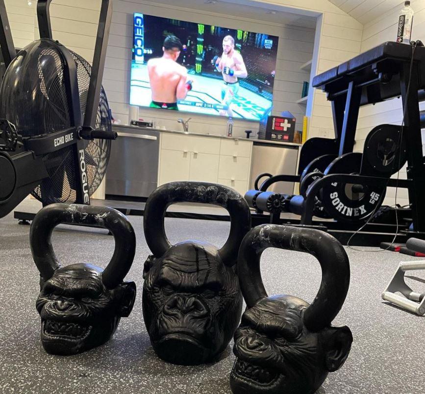 Joe Rogan's gym and monkey weights