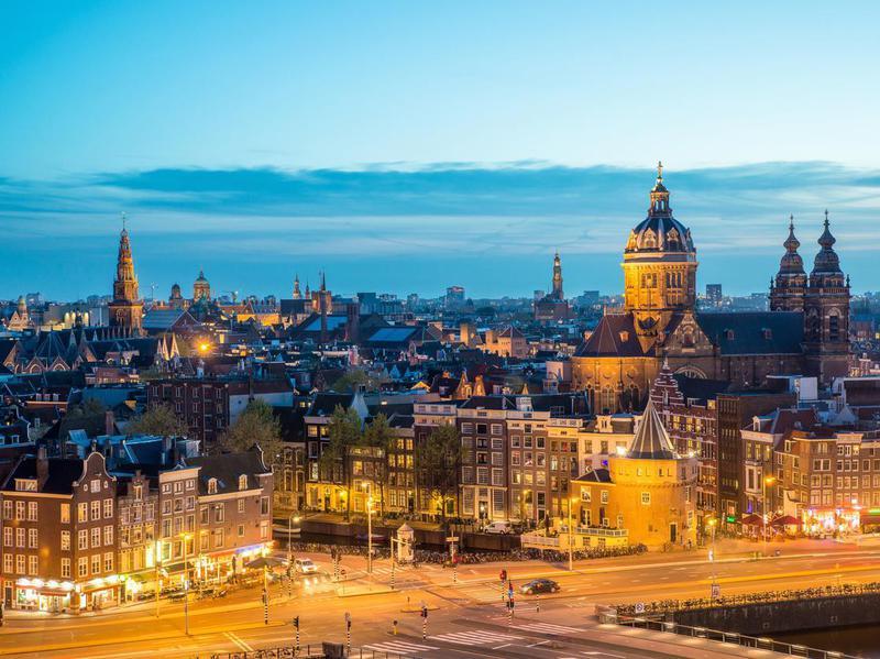 Amsterdam skyline at night, Amsterdam, Netherlands