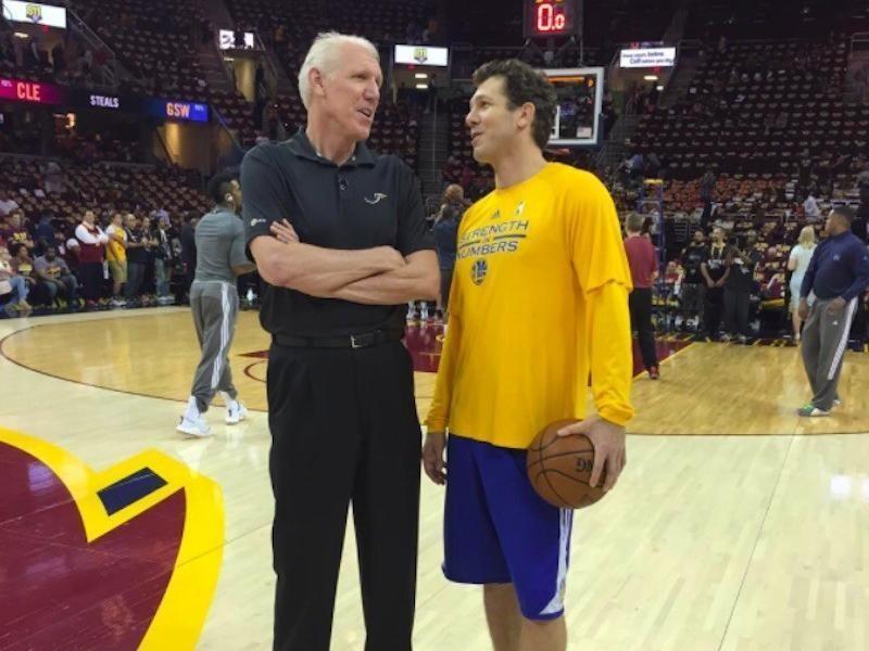 Luke Walton chats with his father Bill Walton at NBA Finals